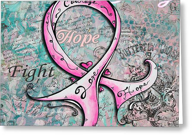 Strength Paintings Greeting Cards - Beautiful Inspirational Elegant Pink Ribbon Design Art for Breast Cancer Awareness Greeting Card by Megan Duncanson