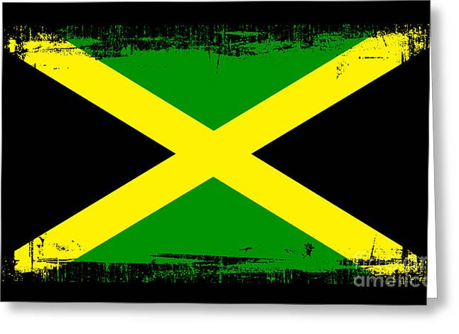 Kingston Mixed Media Greeting Cards - Beautiful Jamaica Flag Greeting Card by Pamela Johnson