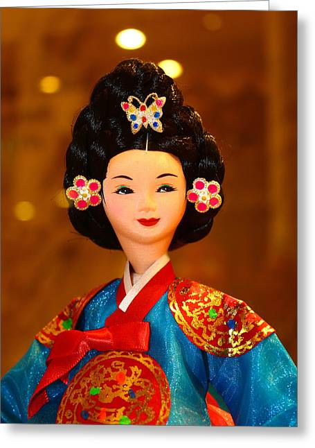 Tradional Greeting Cards - Beautiful Korean Doll Greeting Card by Goy Tex