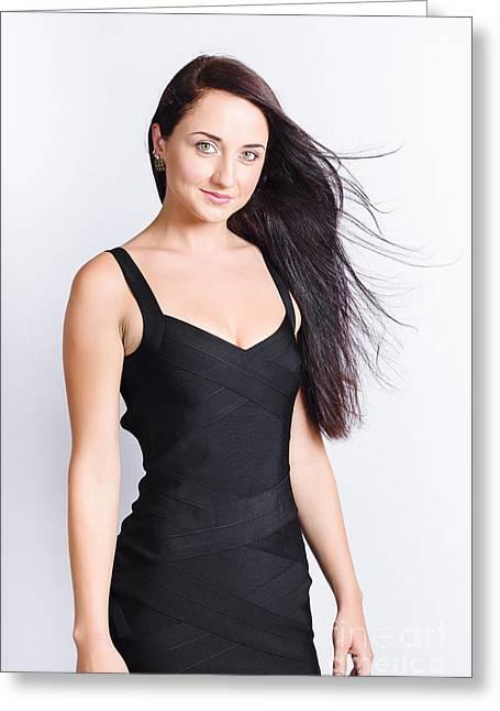 Straight Hair Greeting Cards - Beautiful model with long straight brunette hair Greeting Card by Ryan Jorgensen