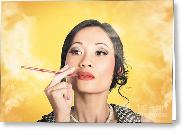 Cigarette Holder Greeting Cards - Beautiful reto lady smoking on yellow background Greeting Card by Ryan Jorgensen