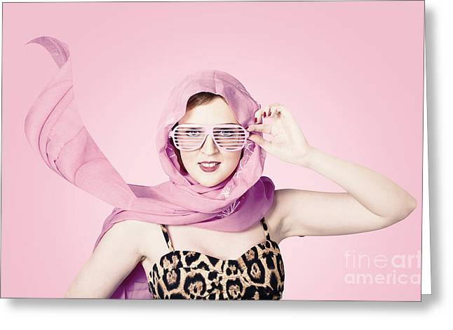 Wellbeing Greeting Cards - Beautiful retro girl in pink 1950 pinup fashion Greeting Card by Ryan Jorgensen