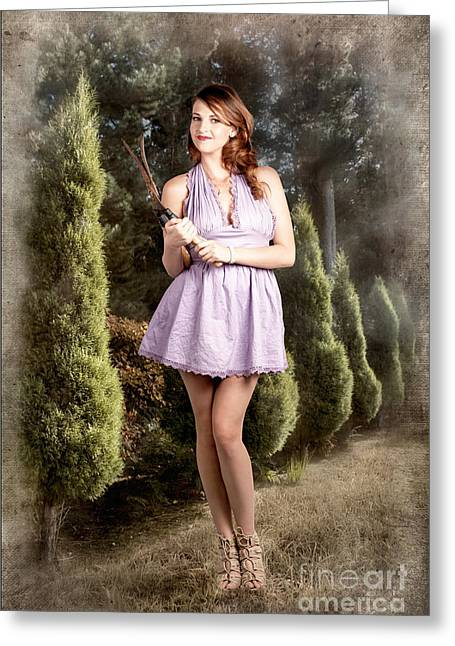 Youthful Photographs Greeting Cards - Beautiful retro maid with hedge clippers in garden Greeting Card by Ryan Jorgensen