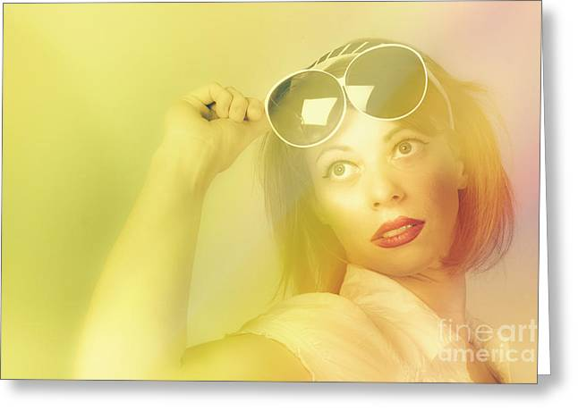 Beautiful Retro Pin-up Girl Wearing Futuristic Sunglasses  Greeting Card by Jorgo Photography - Wall Art Gallery