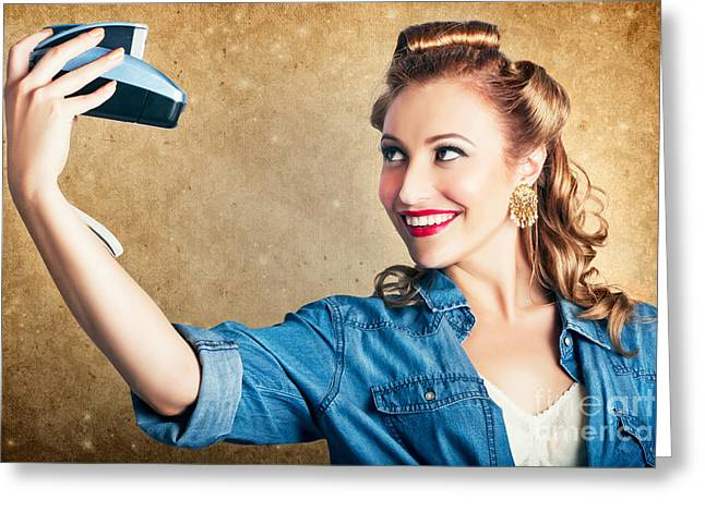 Self Shot Photographs Greeting Cards - Beautiful Retro Woman Taking Selfie With Camera Greeting Card by Ryan Jorgensen