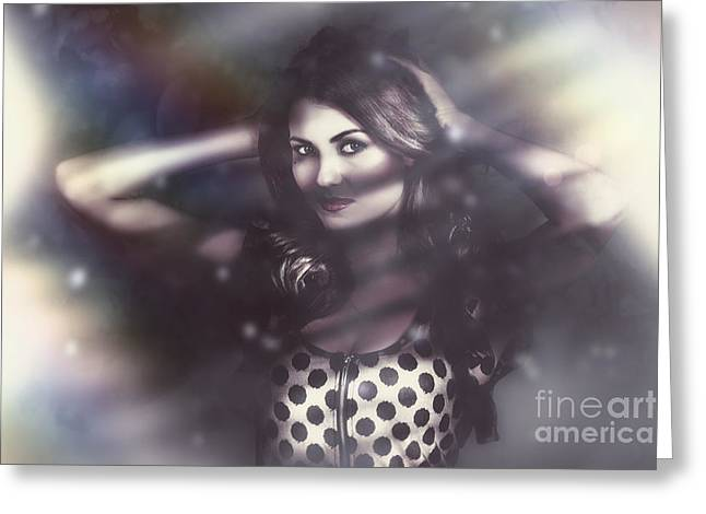 Floating Girl Greeting Cards - Beautiful vintage fashion model. Elusive style Greeting Card by Ryan Jorgensen