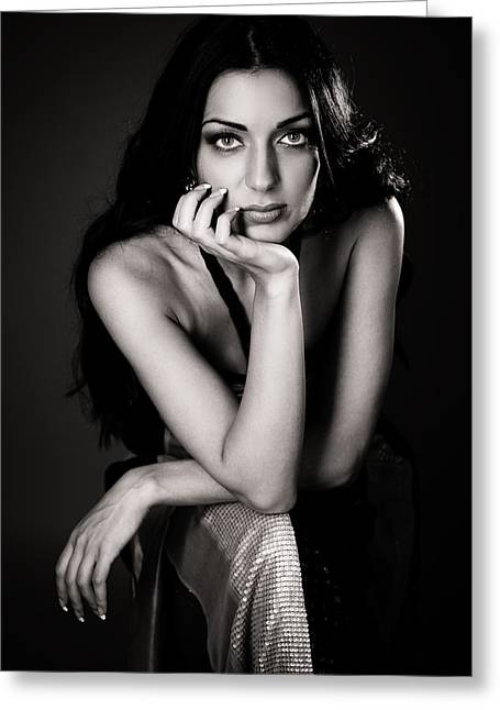 2000s Fashion Greeting Cards - Beautiful Woman Greeting Card by Anna Bryukhanova