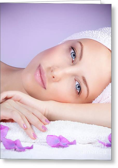 Therapy Greeting Cards - Beautiful woman at spa Greeting Card by Anna Omelchenko