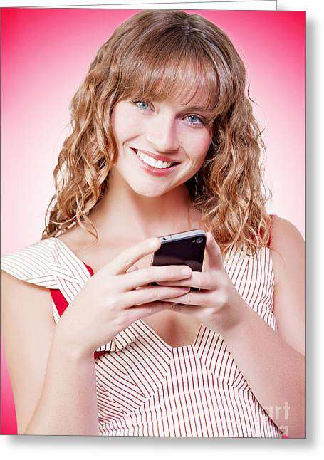 Cellphone Greeting Cards - Beautiful woman texting on her cellphone Greeting Card by Ryan Jorgensen