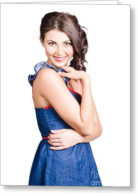 Youthful Photographs Greeting Cards - Beautiful woman wearing denim dress retro fashion Greeting Card by Ryan Jorgensen