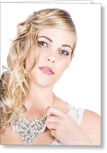 Elegant Bride Greeting Cards - Beautiful woman wearing jewelry Greeting Card by Ryan Jorgensen