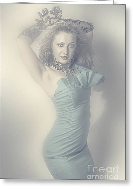 Beautiful Young Blonde Girl In Blue Dress Greeting Card by Jorgo Photography - Wall Art Gallery