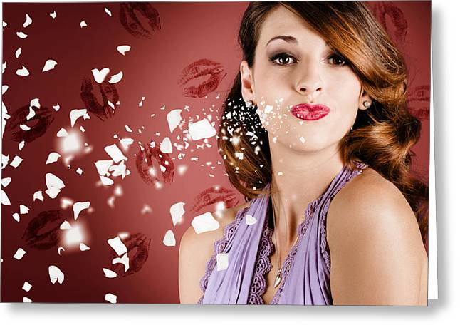 Pucker Greeting Cards - Beautiful young girl in love blowing lipstick kiss Greeting Card by Ryan Jorgensen
