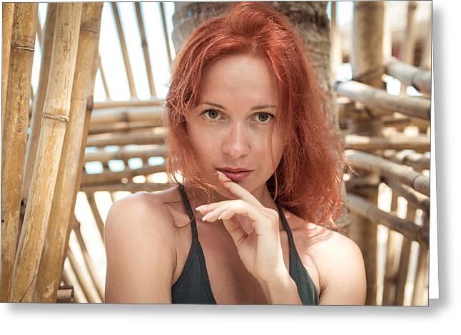 20-25s Greeting Cards - Beautiful young woman at the beach Greeting Card by Nikita Buida
