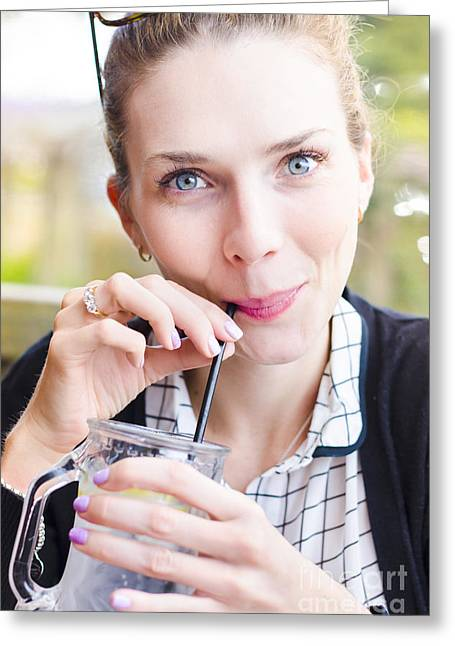 Women Drinking Greeting Cards - Beautiful young woman drinking cold glass of water Greeting Card by Ryan Jorgensen
