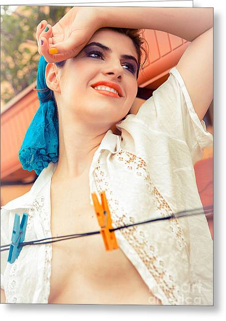Sweat Greeting Cards - Beautiful Young Woman Holding Arm Up With Washing Line Greeting Card by Joe Fox
