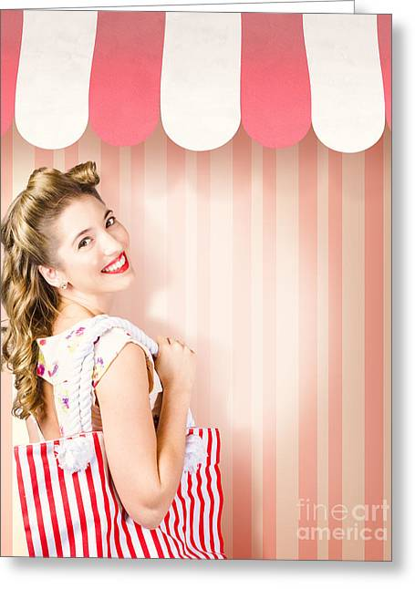 Hairdressing Greeting Cards - Beauty and fashion woman shopping at salon store Greeting Card by Ryan Jorgensen
