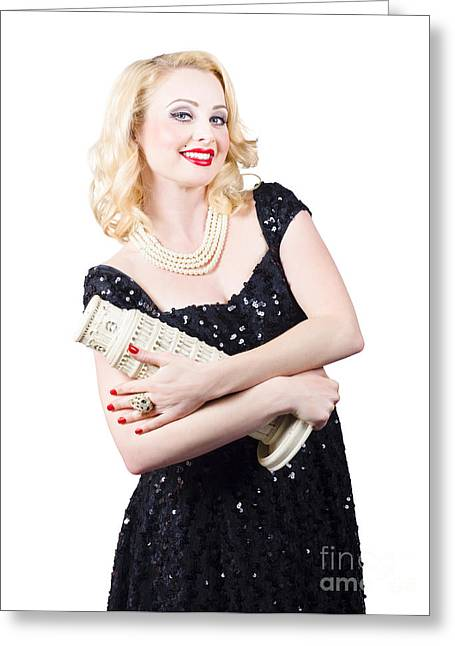 Sequin Greeting Cards - Beauty Girl Portrait making a party trip to Europe Greeting Card by Ryan Jorgensen