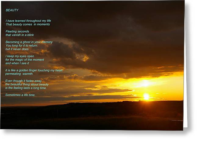 Sunset Posters Greeting Cards - Beauty Greeting Card by Jeff  Swan