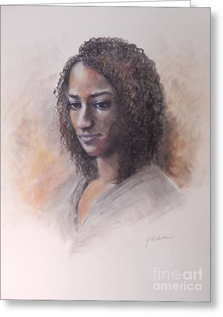 African-americans Pastels Greeting Cards - Becca- Live Model Greeting Card by Yoshiko Mishina