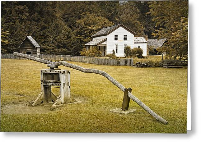 Old Tress Greeting Cards - Becky Cable Farm House in Cades Cove Greeting Card by Randall Nyhof