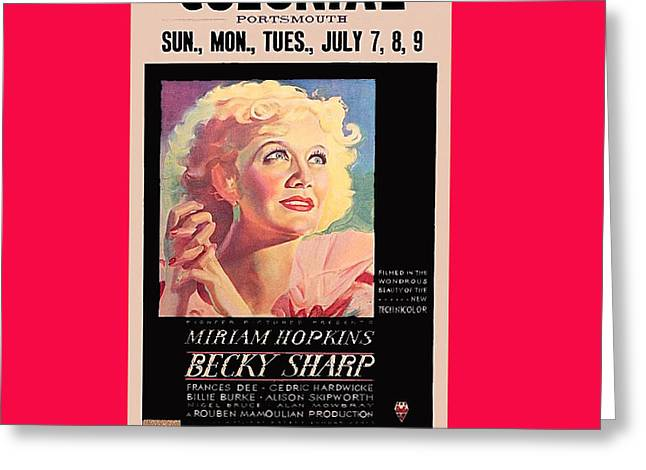 Becky Greeting Cards - Becky Sharp Poster 1935 Rko Radio Portsmouth New Hampshire 1935-2012 Greeting Card by David Lee Guss