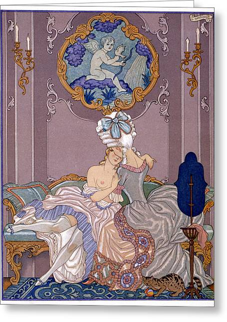 Women Together Greeting Cards - Bedroom scene Greeting Card by Georges Barbier