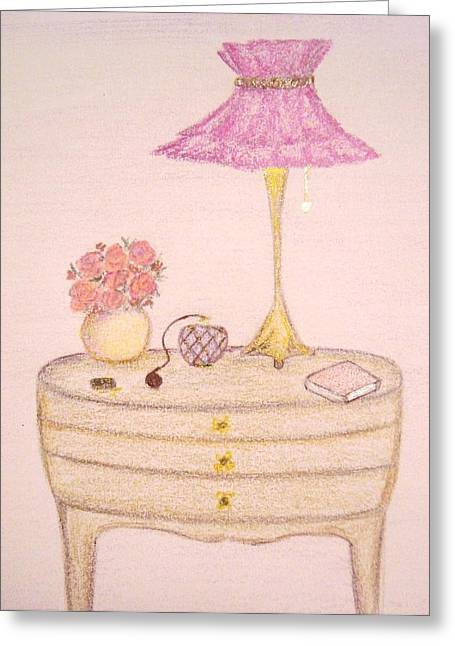 Bookish Greeting Cards - Bedside Table Greeting Card by Christine Corretti