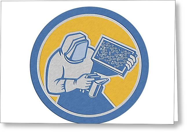 Beekeepers Greeting Cards - Beekeeper Honey Farmer Bee Smoker Circle Retro Greeting Card by Aloysius Patrimonio