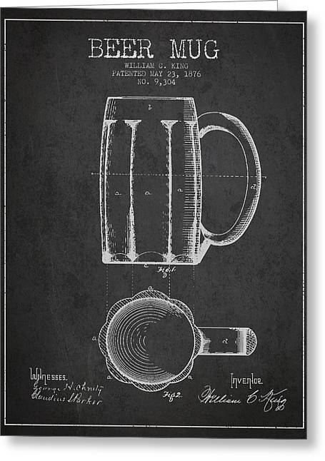 Barrel Greeting Cards - Beer Mug Patent from 1876 - Dark Greeting Card by Aged Pixel