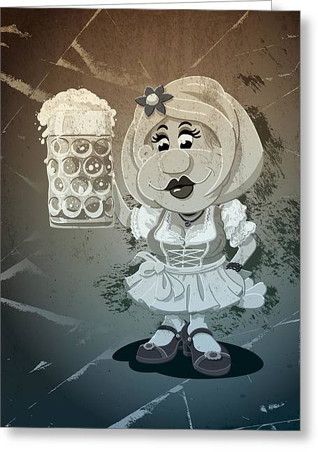 Deutschland Greeting Cards - Beer Stein Dirndl Oktoberfest Cartoon Woman Grunge Monochrome Greeting Card by Frank Ramspott