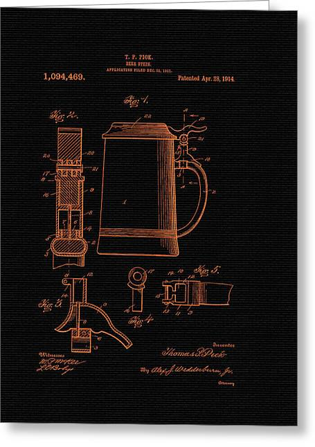 Conferring Greeting Cards - Beer Stein Patent - 1914 Greeting Card by Mountain Dreams