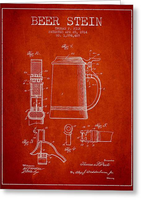 Barrel Greeting Cards - Beer Stein Patent from 1914 - red Greeting Card by Aged Pixel