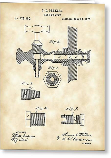 Result Greeting Cards - Beer Tap Patent 1876 - Vintage Greeting Card by Stephen Younts