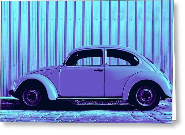 Metal Sheet Greeting Cards - Beetle Pop Lavender Greeting Card by Laura  Fasulo