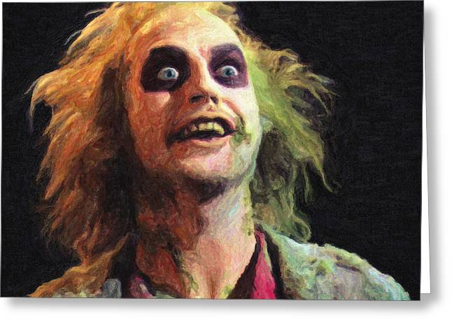 Creepy Paintings Greeting Cards - Beetlejuice Greeting Card by Taylan Soyturk