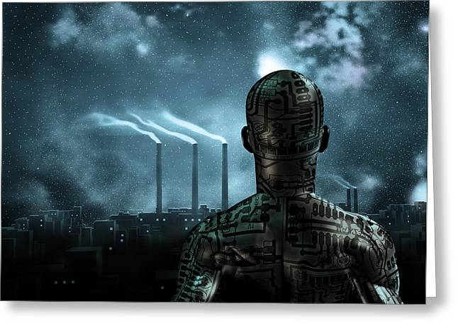 Industrial Icon Digital Art Greeting Cards - Before the city Greeting Card by Bruce Rolff