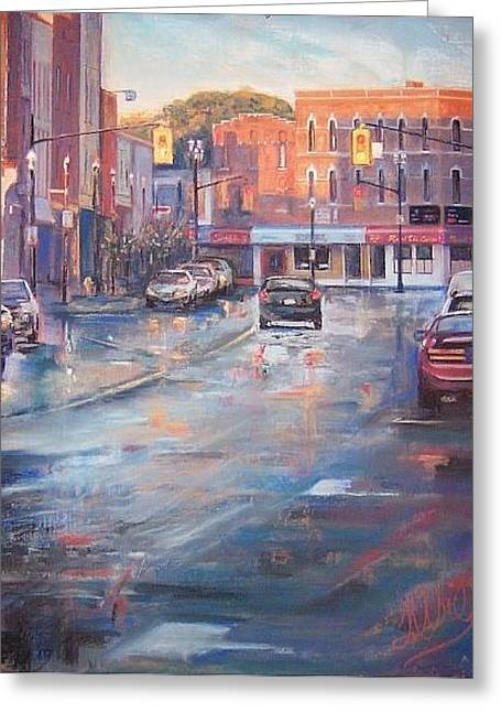 Downtown Pastels Greeting Cards - Before the Fire Greeting Card by Frances Obie