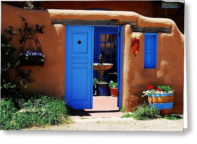 Taos Greeting Cards - Behind A Blue Door 1 Greeting Card by Mel Steinhauer