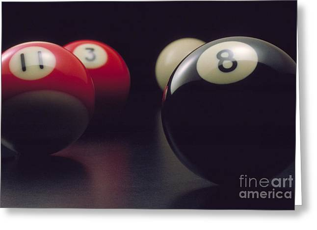 Pool Room Greeting Cards - Behind the 8 Ball Greeting Card by Jerry McElroy
