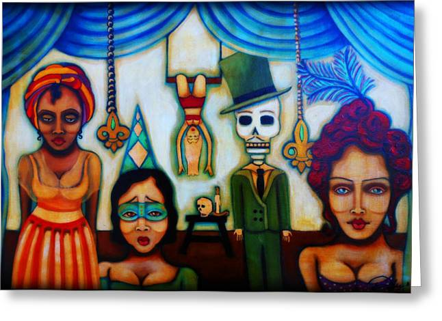 Slaves Mixed Media Greeting Cards - Behind The Blue Velvet Curtain Greeting Card by Sherry Dooley