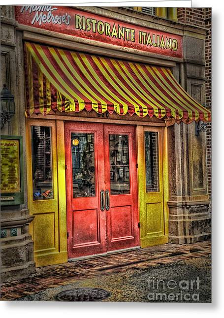 Italian Restaurant Greeting Cards - Behind These Doors Greeting Card by Arnie Goldstein