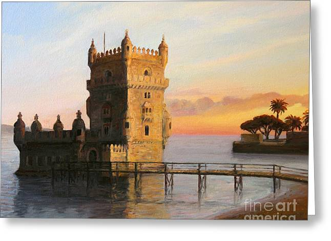 Portugal Paintings Greeting Cards - Belem Tower in Lisbon Greeting Card by Kiril Stanchev