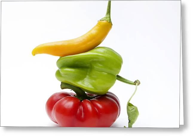 Healthy Vegetables Greeting Cards - Bell Peppers and Tomatoes Greeting Card by Bernard Jaubert