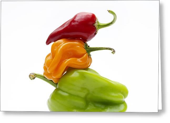 Vegetable Photographs Greeting Cards - Bell Peppers Greeting Card by Bernard Jaubert