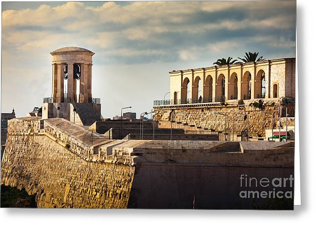 Maltese Greeting Cards - Bell Tower Memorial Valetta Malta Greeting Card by Frank Bach