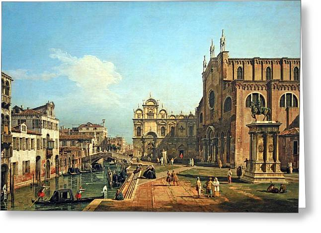 Cora Wandel Greeting Cards - Bellottos The Campo Di SS. Giovanni E Paolo In Venice Greeting Card by Cora Wandel