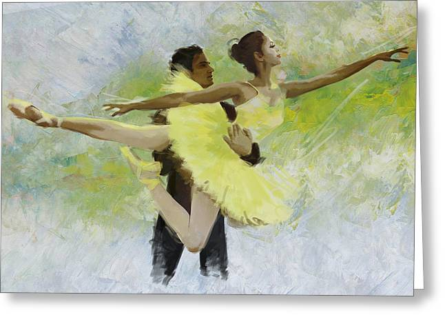 Ballet Dancers Paintings Greeting Cards - Belly Dancers Greeting Card by Corporate Art Task Force