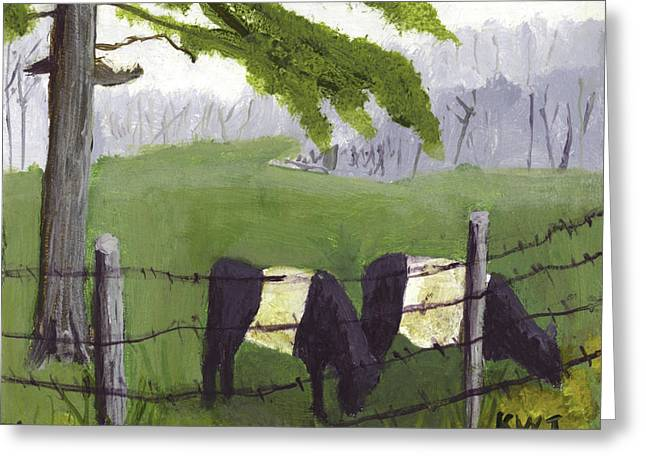 Maine Farms Paintings Greeting Cards - Belted Galloway Cows in Rockport Maine Greeting Card by Keith Webber Jr