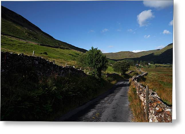 Lough Greeting Cards - Ben Beg And Road Along The Side Greeting Card by Panoramic Images